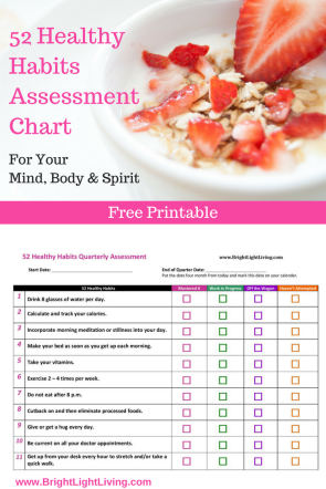 52 Healthy Habits Assessment Chart